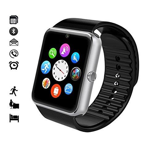 MallTEK Smartwatch Bluetooth mit TF SIM-Kartenslot, Smart Uhr 1.54 Zoll, Smartwatch mit Funktionen Kamera, Schrittzähler, Schlafmonitor, Whatsapp, Smartwatch für Huawei, Xiaomi, Doogee, Samsung, Lenovo, Sony, HTC und andere die meisten Android Handy Smartphone (Silber) (Whatsapp Herunterladen)