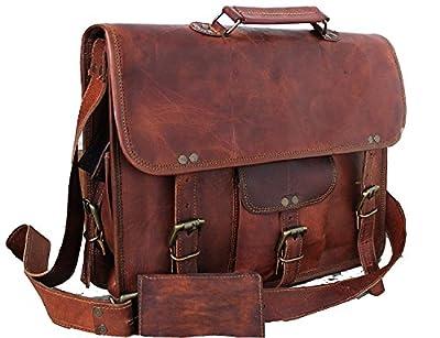 Handmadecraft Carnet/cuir unisexe Sac à bandoulière en cuir véritable pour sacoche pour ordinateur portable sacoche...