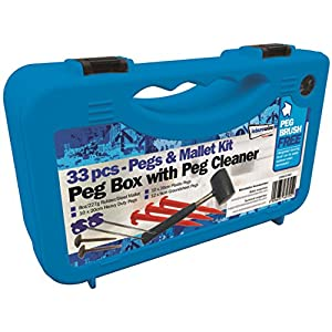 51Nj39OuOlL. SS300  - Streetwize LWACC430 Tent Pegs And Mallet Kit 33 Pieces Box With Peg Cleaner