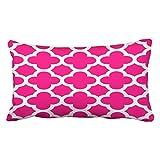 Emvency Pillow case Hot Pink Quatrefoil pattern outdoors King 50,8x 91,4cm (51x 92cm) geometrico decorativo federe federa cuscino casi One Side