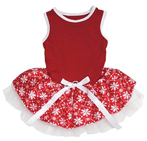 Pet Supply Christmas Dress Red Cotton Snowflake Tutu Cat Dog Rabbit Dress (White Rabbit Dog Kostüm)