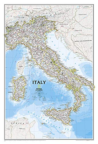 National Geographic: Italy Classic Wall Map (23.25 X 34.25 Inches): NG.P602297 (National Geographic Reference Map) -