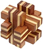 Philos 6060 - Cross Road Puzzle, Bambus, Green Games, 12 Puzzle Teile, Knobelspiel