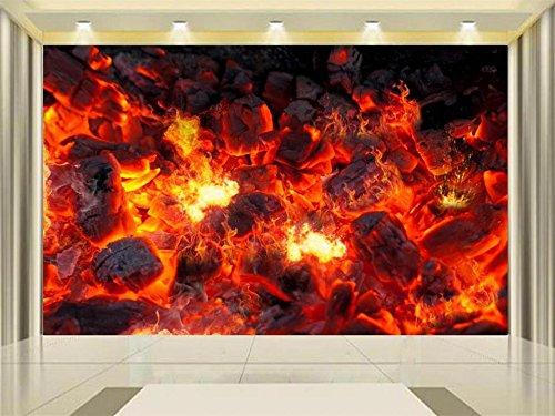 YSDECOR 3D Tapete Fototapete Benutzerdefinierte Mural Wohnzimmer Live Holzkohle Flamme Brennen Malerei Tv Hintergrundbild Für Wände 3D -