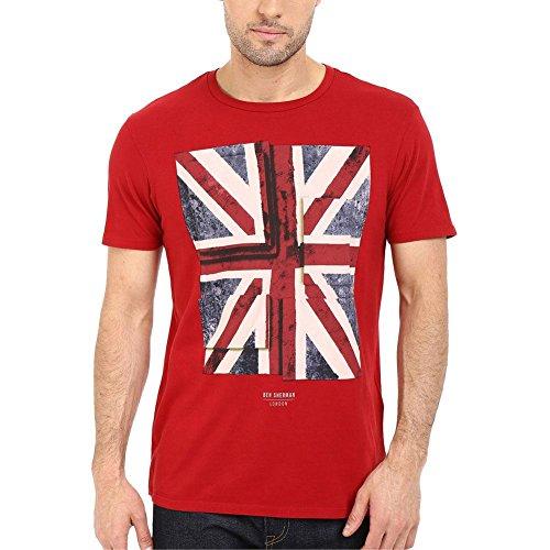 Ben Sherman Herren T-Shirt, Einfarbig Rot - Rot