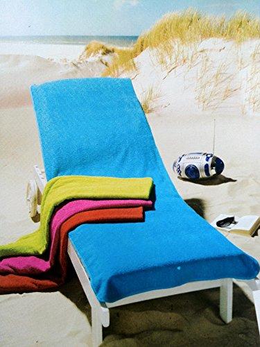 Frottee Schonbezug Bezug Auflage Gartenliege Liege Stuhl Gartenstuhl (Pink, 70x200cm (Liege))