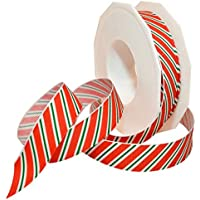 Morex Ribbon 80605/20-919 Candy Cane Stripes Grosgrain Ribbon, 7/8-Inch by 20-Yard, Holiday Red by Morex Ribbon