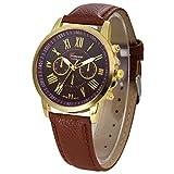 Women's Watches,Kingwo Ladies Wristwatch Fashion New Womens Fashion Geneva Roman Numerals Faux Leather Analog Quartz Wrist Watch (Kaffee)