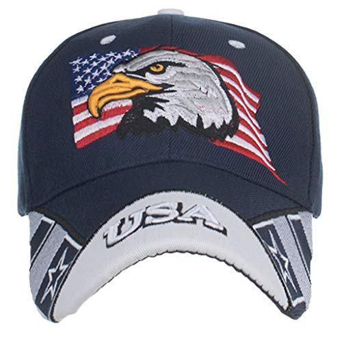 Syeytx Eagle USA Flag Eagle Bestickte Baseballmütze Duck Tongue Cap Sun Hat -