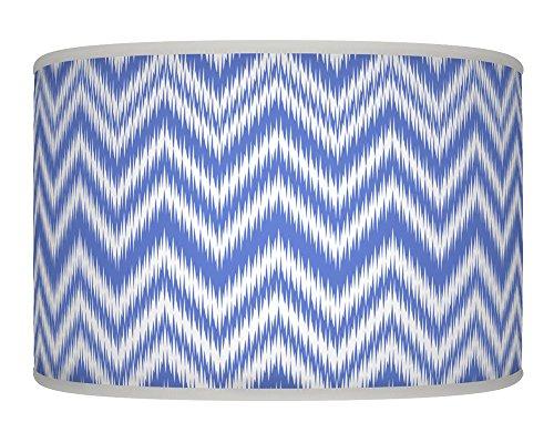 Chevron blau weiß retro handgefertigt Geometrische Giclée-Style bedruckter Stoff Lampe Drum Schatten Boden oder Decke Pendelleuchte Schatten 392