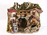 Christmas Decoration Cueva belén con Case, manifiestas y con Fuente de Agua, 36x 35x 28cm