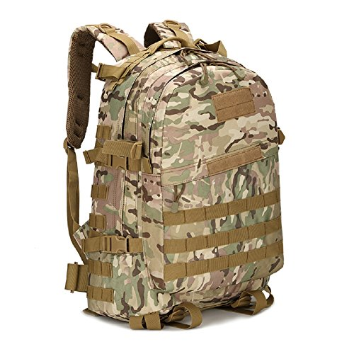 Z&N Militär-Fan Tarnung Bergsteigen Tasche taktischen Rucksack Outdoor-Camping-Tasche militärischen Rucksack Wanderrucksack wasserdichte große Kapazität Casual Laptop Rucksack E