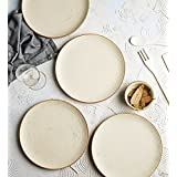 "Handcrafted White Matte Finish Ribbed 7"" Quarter Plate- Set Of 4"