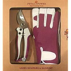 Señoras guante de jardinería y tijeras de podar-jardinería de derivación Super fuerte & Premier piel guantes de jardinería-regalo perfecto de jardín para las mujeres