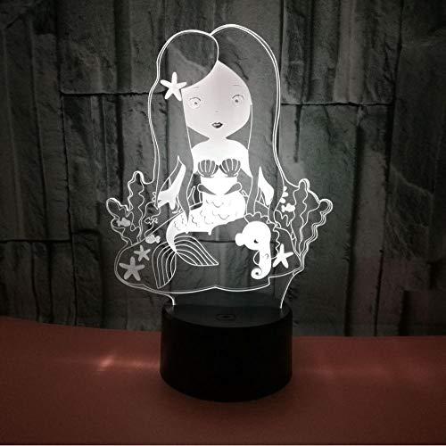 Kreative Meerjungfrau 3d Nachtlicht Geschenk 3d Fernbedienung dekorative LED Nachtlicht Kinderzimmer führen Kinder Licht -