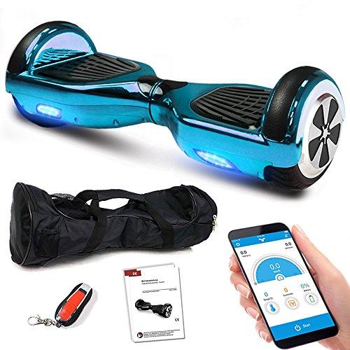 Kategorie <b>Zweirad E-Board (Hoverboard) </b> - Smartway Hoverboard 6, 5 Zoll 600W-Motion V.5 mit App Funktion, Bluetooth Lautsprecher, Kinder Sicherheitsmodus, Self Elektro Balance Scooter, 600 Watt (Blau Chrome)
