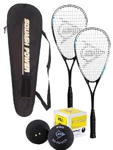 DUNLOP 2013 Squashset 2x Biotec X Lite Squashschläger , Squashball & Fullsize Thermobag Schlägertasche ! Ideal für den Einstieg in die Welt des Squash