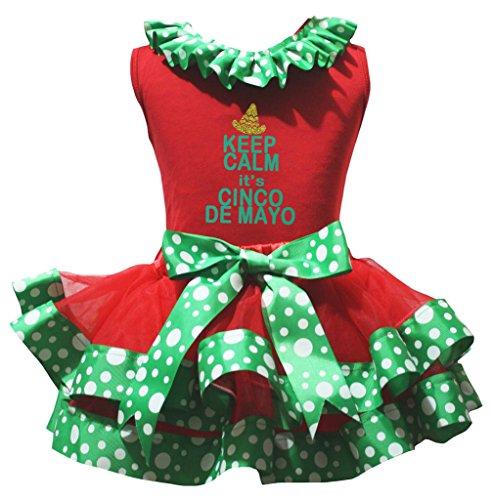 Petitebelle Es ist Cinco De Mayo Hemd Grün-weißen Punkte Petal Rock-Satz Nb-8J 1-3 Jahre rot