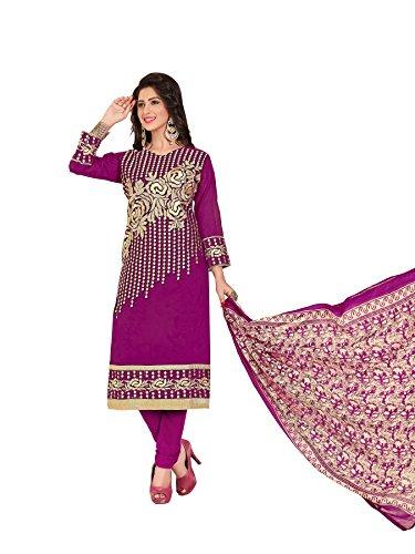 Salwar Kameez(Kimisha Women's Dark Rani Chanderi Straight Embroidered Dress material_KGNGBRND04_Purple_Functional Salwar Suit)