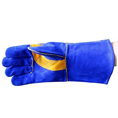 Susulv Leder Sapphire Blue Welding Outdoor-Ofen Mikrowelle Gartenarbeit Stich beständig Hochtemperatur-Schutzhandschuhe