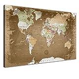 """LANA KK - Weltkarte Leinwandbild mit Korkrückwand zum pinnen der Reiseziele – """"Weltkarte Oldstyle"""" - deutsch - Kunstdruck-Pinnwand Globus in braun, einteilig & fertig gerahmt in 100x70cm"""
