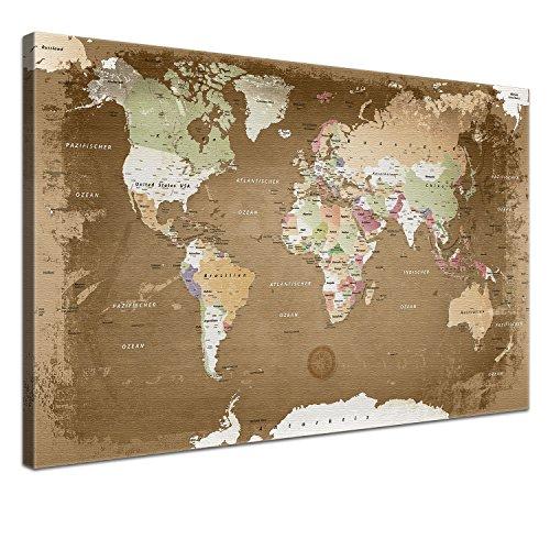 """LANA KK - Weltkarte Leinwandbild mit Korkrückwand zum pinnen der Reiseziele - \""""Weltkarte Oldstyle\"""" - deutsch - Kunstdruck-Pinnwand Globus in braun, einteilig & fertig gerahmt in 120x80cm"""