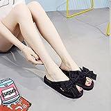 I sandali di tendenza delle scarpe da spiaggia delle scarpe da bowknot all'aperto di modo delle estive delle pistole femminili calzano i sandali di tendenza - alto 3cm ( Colore : Nero , dimensioni : US:5.5UK:4.5EUR:36 )