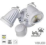 VBLED 26W Doppel Wandleuchte (2x13W) LED-Außenstrahler DUO Flutlicht mit einstellbarem Bewegungsmelder & Dämmerungs-Sensor - Warmweiß - 2-flammige Wandlampe Fluter für Außen- und Innenbereich, IP54 Schutz