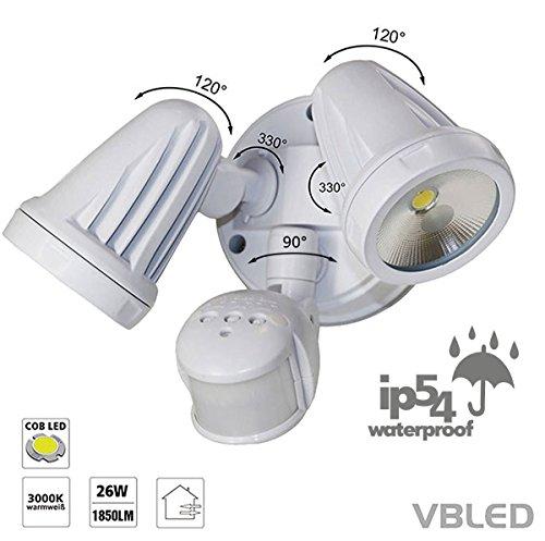VBLED® 26W Doppel Wandleuchte (2x13W) LED-Außenstrahler DUO Flutlicht mit einstellbarem Bewegungsmelder & Dämmerungs-Sensor - Warmweiß - 2-flammige Wandlampe Fluter für Außen- und Innenbereich, IP54 Schutz