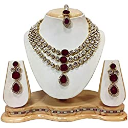 Shining Diva Crystal Studded Traditional Jewellery Necklace Set with Earrings For Girls / Women