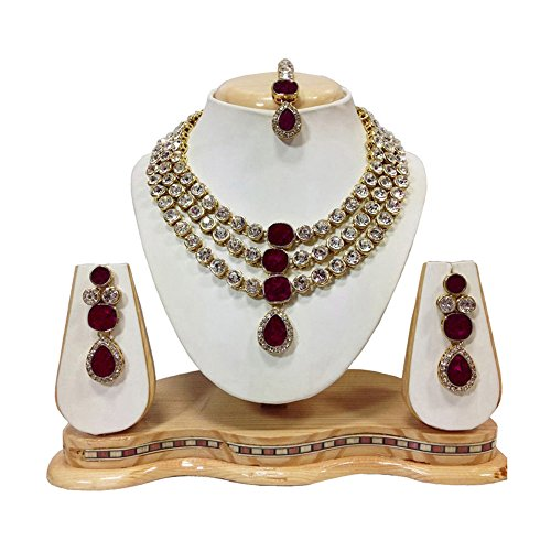 Shining Diva Crystal Studded Traditional Jewellery Necklace Set with Earrings For Girls...