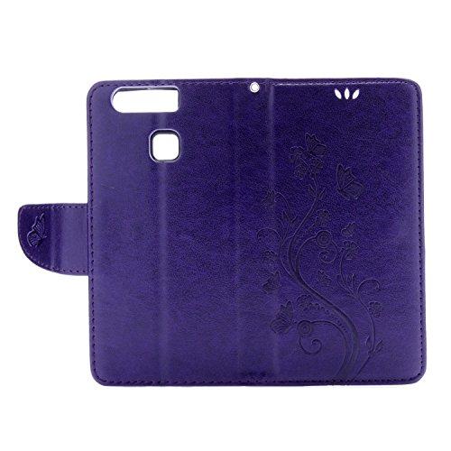 Huawei P9 Cover Protettiva, Alfort 2 in 1 Custodia in Pelle Verniciata Goffrata Farfalle e Fiori Alta qualità Cuoio Flip Stand Case per la Custodia Huawei P9 Ci sono Funzioni di Supporto e Portafoglio Porpora