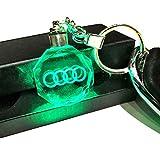 VILLSION Colori Che cambiano LED Audi Portachiavi Emblema per Auto Portachiavi Accessori con Luce a LED