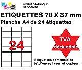1200 Étiquettes pour Timbres 70 x 37mm - 50 feuilles A4 compatible jet d'encre, laser et copieur - TVA DÉDUCTIBLE contrairement à certains vendeurs (auto entrepreneurs) - Marque UNIVERS GRAPHIQUE REF UGE242
