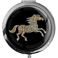 """metALUm - Extragroße Pillendose in runder Form""""Pferd in Gold"""" preisvergleich bei billige-tabletten.eu"""
