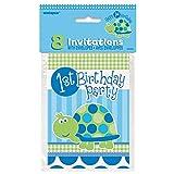1. Geburtstag Schildkröte Blau, Bitte wählen:Einladungskarten 8 Stk.