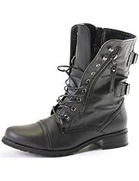 shoeFashionista - Enfants Filles Bottes à lacets Militaire Vintage Chaussures Plates Bottines Lacets Taille