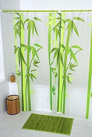 Ideko - Rideau de douche peva bambou - 180x180cm