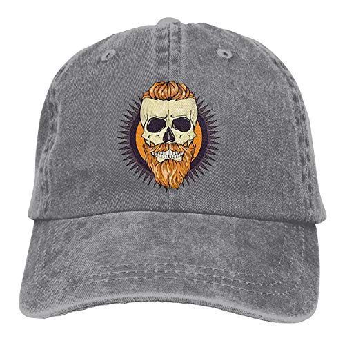 Wfispiy Color Angry Skull Hairstyle Verstellbare Gewaschene Vintage Baseballmützen Trucker Hat