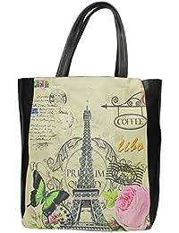 Cachet Paris Vintage avec femme Motif grand sac à main fourre-tout avec pochette intérieure-Sac 2 en 1
