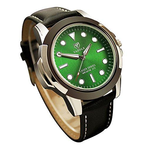YaZhuoLun Herren-Armbanduhr,Legierung PU-Leder Wasserdicht Leuchtende Quarzuhr Uhren Uhr(Grün)