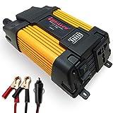 Liefallow Spannungswandler Wechselrichter 1000W DC 12V zu AC 230V 240V Auto konverter mit 2 USB Anschlüsse Kfz Zigarettenanzünder Stecker Autobatterieclips für Laptop-Ladegerät Netzteil
