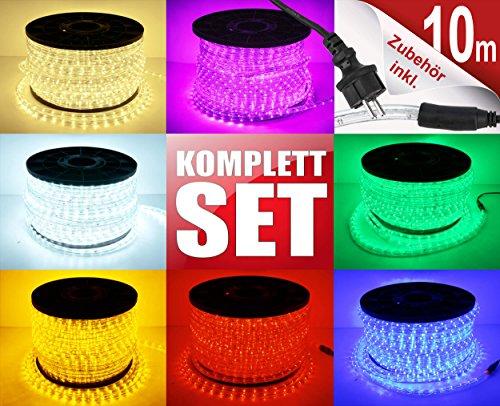 10m LED Lichterschlauch Lichtschlauch Lichterkette Licht Leiste 360 LEDs Xmas Schlauch Steckerfertig für Innen und Außen-Bereich - Komplett Set inkl. 20 Wandhalterungen - Blau