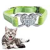 KYS Hundehalsband Sizing: 1.0 * 28.0cm, Haustier Katze Cordiform Diamant-Schicht-Plüsch-justierbarer Kragen (Farbe : Grün)