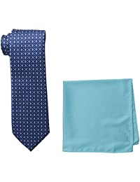 Steve Harvey Men's Tall Extra Long Neat Woven Necktie and Solid Pocket Square