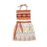 BaronHong Girl Moana Cosplay Costume Party Dress(orange,110cm)
