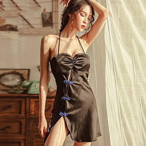 ASDF Ethnic Style of Lingerie Women's Uniform Classical Pan -Buckled Cheongsam Sleepwear Sexy Sleeping Skin -