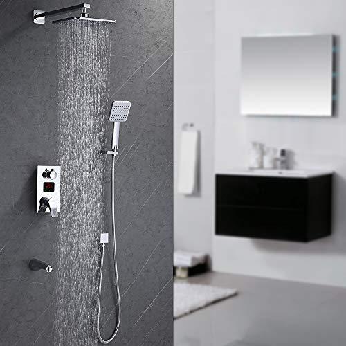 Homelody Unterputz Duschsystem mit LCD Temperatur-Anzeige Duschset Duscharmatur Regendusche mit Rainshower Handbrause Duschkopf Dusche Armatur und Badewanne für Bad