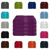 4 tlg. Handtuch-Set in vielen Farben - 4 Handtücher 50x100 cm - Farbe lila
