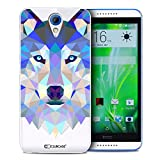 Caseink Coque Housse Etui HTC Desire 620 [Crystal HD Polygon Series Animal - Rigide - Ultra Fin - Imprimé en France] - Loup